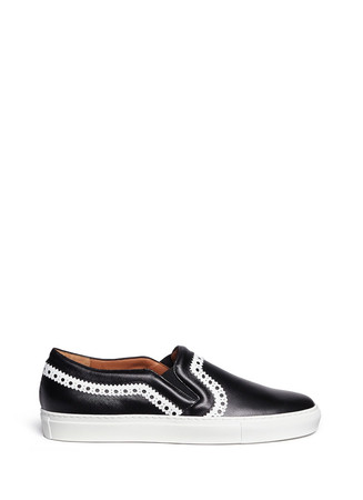 Zigzag trim saffiano leather skate slip-ons