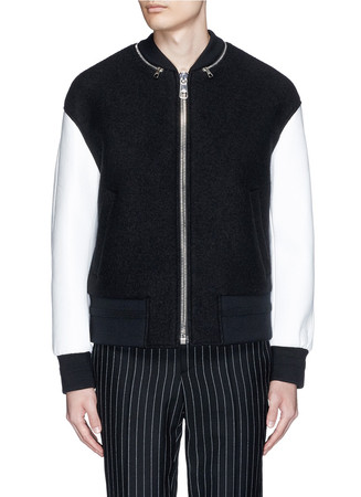Zip collar wool bouclé bomber jacket