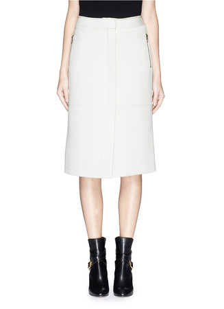 Zip pocket wool gabardine skirt