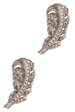 Oscar De La Renta Women`s Feather Crystal Earrings Boutique1