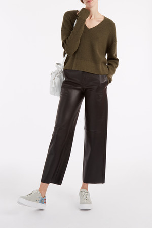 Helmut Lang Women`s Leather Wide Leg Trousers Boutique1