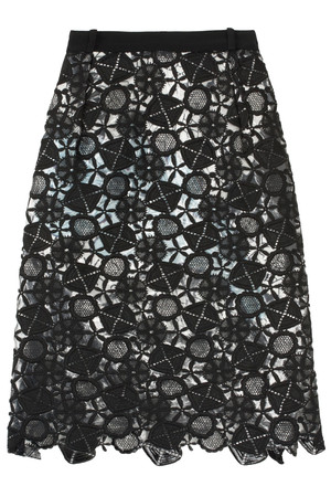 Preen By Thornton Bregazzi Women`s Latex Lace Lined Skirt Boutique1