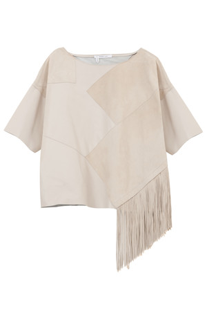 Derek Lam 10 Crosby Women`s Leather Suede Top With Fringe Boutique1