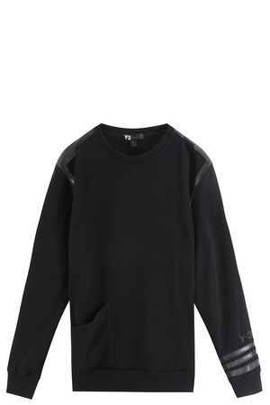 Y-3 Men`s Leather Trimmed Sweater Boutique1