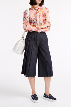 Msgm Women`s Pleated Chambray Culottes Boutique1