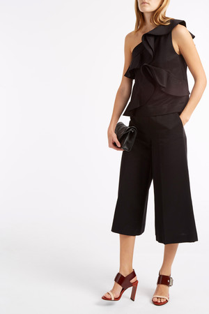 Msgm Women`s Ruffle One Shoulder Top Boutique1