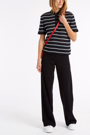 Msgm Women`s Stripe Polo Top Boutique1