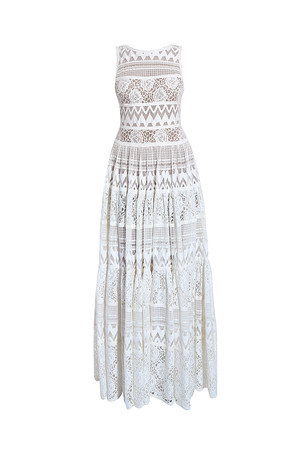 Elie Saab Women`s Ruffled Lace Dress Boutique1