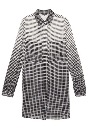 Raoul Women`s Silk Grid Print Boyfriend Shirt Boutique1