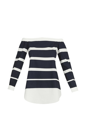 Derek Lam 10 Crosby Women`s Striped Off Shoulder Top Boutique1