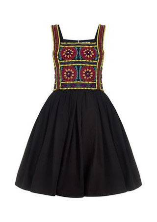 Embroidered Strap Dress