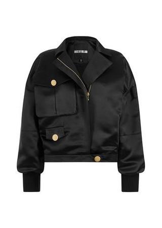 Satin Applique Bomber Jacket