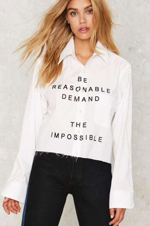 After Party by Nasty Gal Demand the Impossible Button-Up Shirt