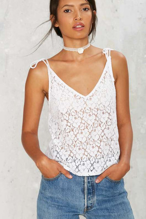After Party by Nasty Gal Donna Lace Top