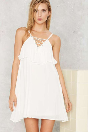 Get Loose Lace Up Dress