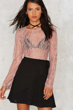 Lace Up Your Sleeve Sheer Bodysuit