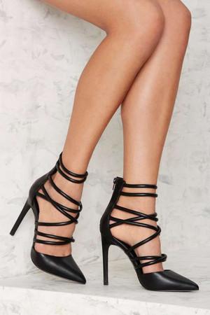 Nasty Gal Cecily Vegan Leather Heel - Black