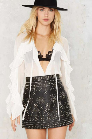 Nasty Gal Finn Studded Leather Skirt
