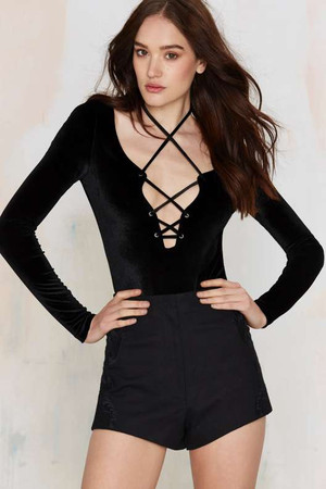 Nasty Gal Love Lockdown Velvet Bodysuit