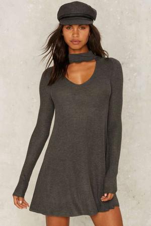 Nasty Gal Piece of Mine Knit Dress - Gray