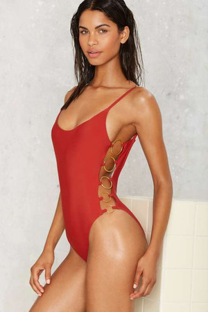 Nasty Gal Ring True Cutout Swimsuit - Red