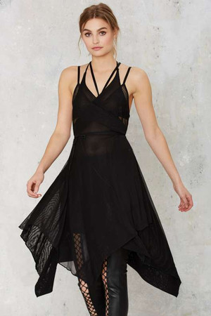 Nasty Gal Risk It All Sheer Wrap Dress