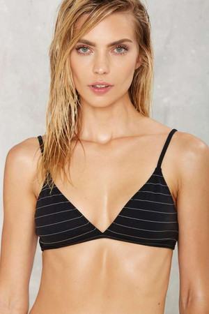 Nasty Gal What's Line is Yours Striped Bikini Top