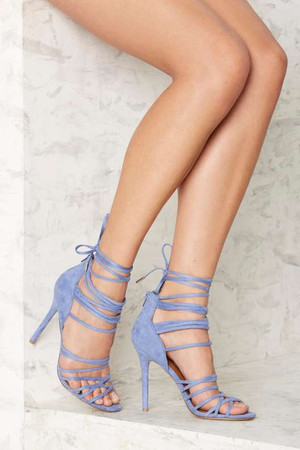 Nasty Gal Wrap in the Face Heels - Blue