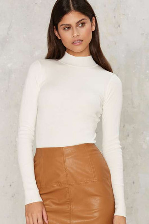 Stay Close Mock Neck Knit Top
