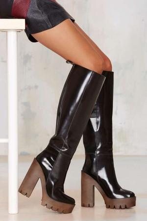 Sti Cindy Patent Leather Platform Boot