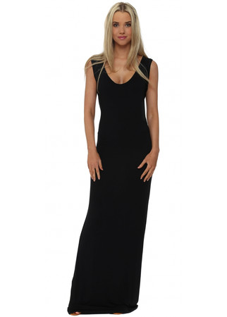 Black Jersey Sleeveless Maxi Dress
