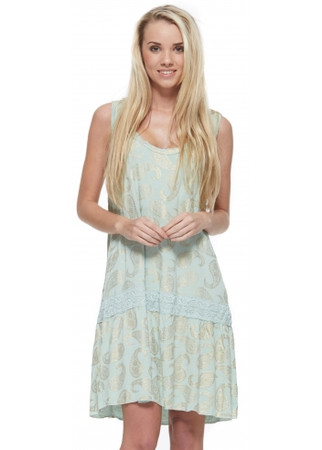 Dress Isadora Foil Paisley Flapper Spearmint Dress
