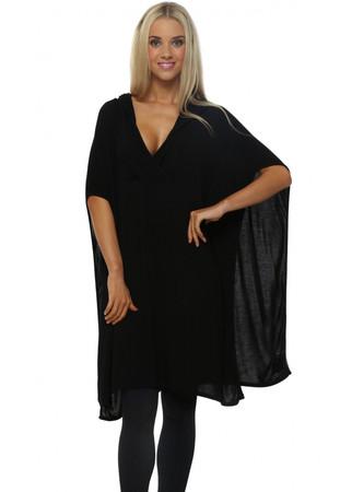 Farah Black Hooded Slouch Poncho