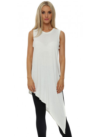 Lori Lenzing Foam Asymmetric Sleeveless Long Vest
