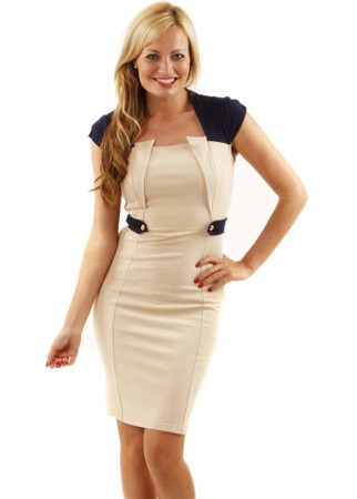 Neva Cream Epaulette Detail Bodycon Dress