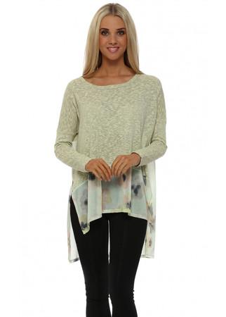 Petra Pastel Posy Slub Knit Sweater In Lemon Dream