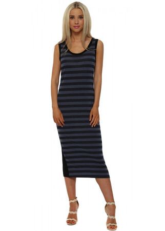 Sasha Indigo Sea Stripe Sleeveless Midi Dress