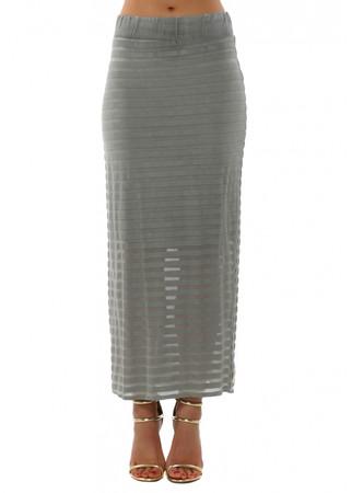 Sofia Mesh Stripe Smokey Maxi Skirt