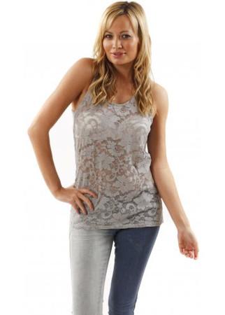 Vest Kimmie Pearl Grey Semi Sheer Lace Sleeveless Top