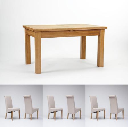 Devon Oak Extending Dining Table 140cm-200cm & 4 or 6 Tivoli Oak Fabric Rollback Chairs (6 Gun Metal Grey Chairs)