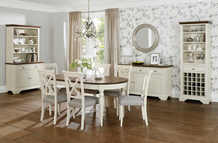 Hampstead Soft Grey and Walnut 4-6 Seater Extension Dining Table & 4 or 6 X-Back Dining Chairs (Table & 6 Chairs)