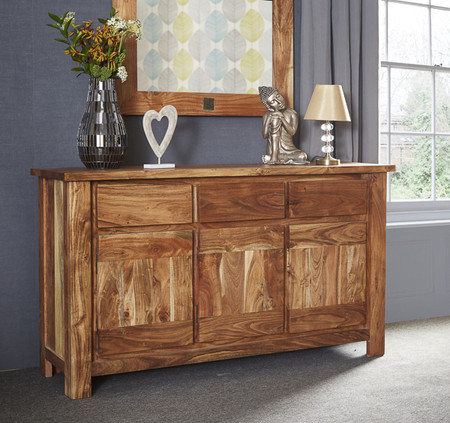 Indus Acacia 3 Drawer 3 Door Sideboard