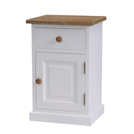 Mottisfont Painted 1 Door 1 Drawer Bedside (White, Pine, Metal, Hinge on left side)