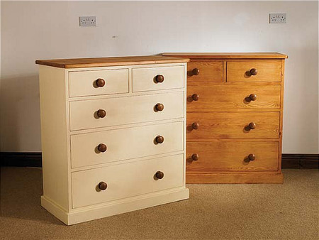 Mottisfont Painted 2 Over 3 Chest Of Drawers (White, Pine, Metal)