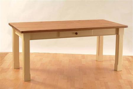 Mottisfont Painted 6ft x 3ft Square Leg Table (Cream, Oak, Metal)