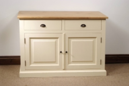 Mottisfont Painted Colchester Dresser Base (Cream, Oak, Metal)