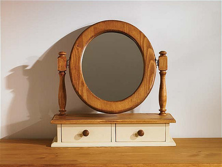 Mottisfont Painted Dressing Table Mirror Oval (Blue, Oak, Wooden)