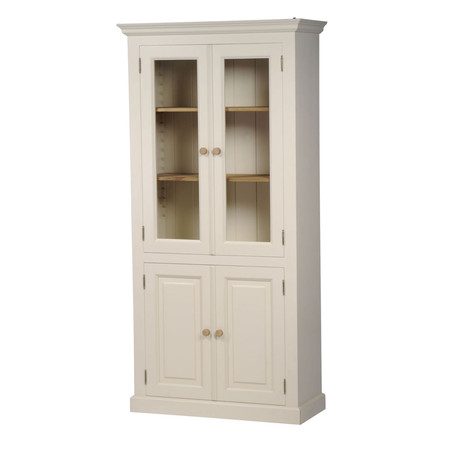 Mottisfont Painted Glazed Bookcase (Cream, Pine, Metal)