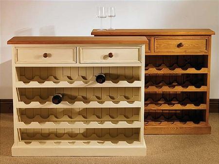 Mottisfont Painted Large Floor Standing Wine Rack - 32 bottles (White, Oak, Wooden)