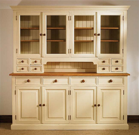 Mottisfont Painted Large Glazed Dresser (Cream, Oak, Wooden)